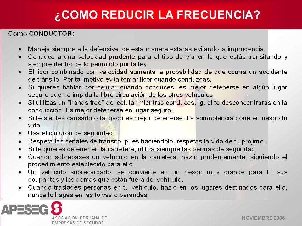 NOVIEMBRE 2006 ASOCIACION PERUANA DE EMPRESAS DE SEGUROS ¿COMO REDUCIR LA FRECUENCIA?