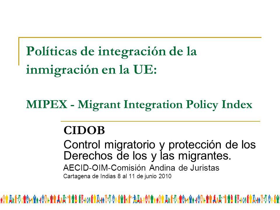 Políticas de integración de la inmigración en la UE: MIPEX - Migrant Integration Policy Index CIDOB Control migratorio y protección de los Derechos de