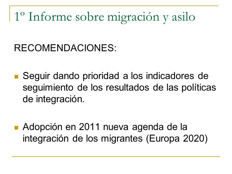 1º Informe sobre migración y asilo RECOMENDACIONES: Seguir dando prioridad a los indicadores de seguimiento de los resultados de las políticas de inte