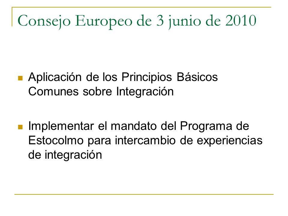 Consejo Europeo de 3 junio de 2010 Aplicación de los Principios Básicos Comunes sobre Integración Implementar el mandato del Programa de Estocolmo par
