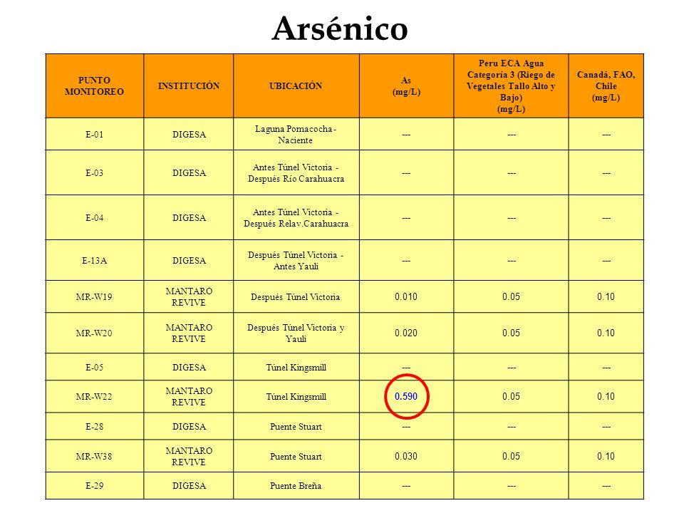 Arsénico PUNTO MONITOREO INSTITUCIÓNUBICACIÓN As (mg/L) Peru ECA Agua Categoría 3 (Riego de Vegetales Tallo Alto y Bajo) (mg/L) Canadá, FAO, Chile (mg
