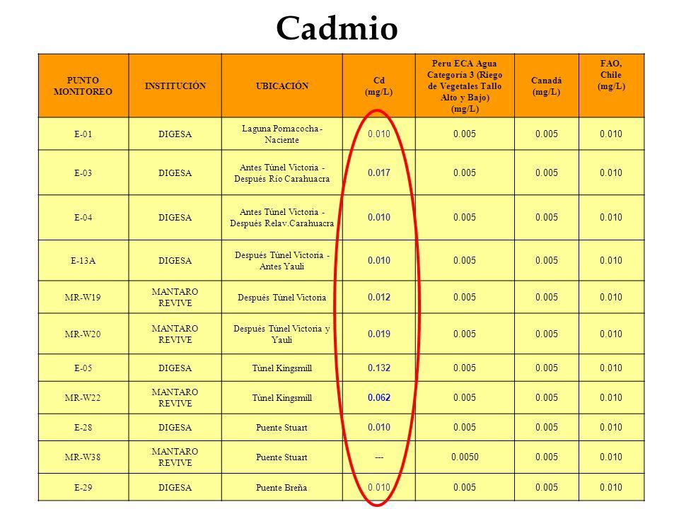 Cadmio PUNTO MONITOREO INSTITUCIÓNUBICACIÓN Cd (mg/L) Peru ECA Agua Categoría 3 (Riego de Vegetales Tallo Alto y Bajo) (mg/L) Canadá (mg/L) FAO, Chile