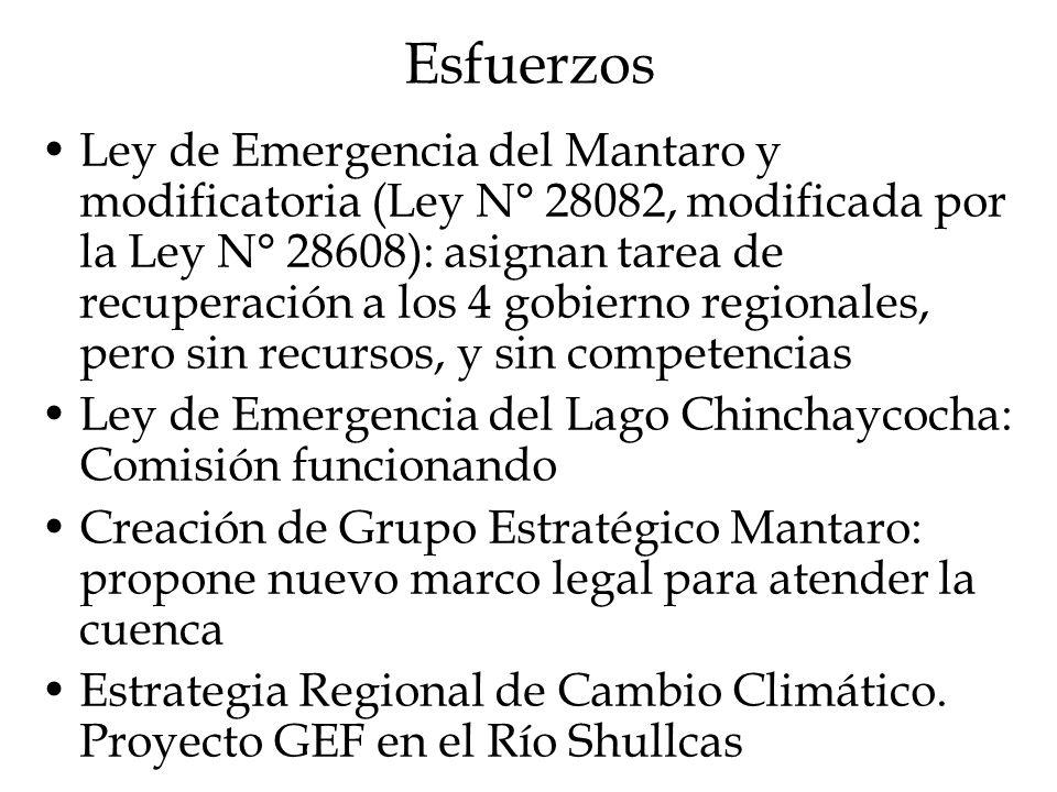 Esfuerzos Ley de Emergencia del Mantaro y modificatoria (Ley N° 28082, modificada por la Ley N° 28608): asignan tarea de recuperación a los 4 gobierno