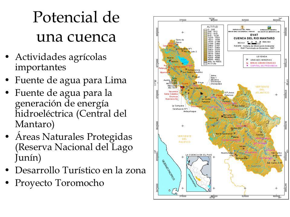 Potencial de una cuenca Actividades agrícolas importantes Fuente de agua para Lima Fuente de agua para la generación de energía hidroeléctrica (Centra