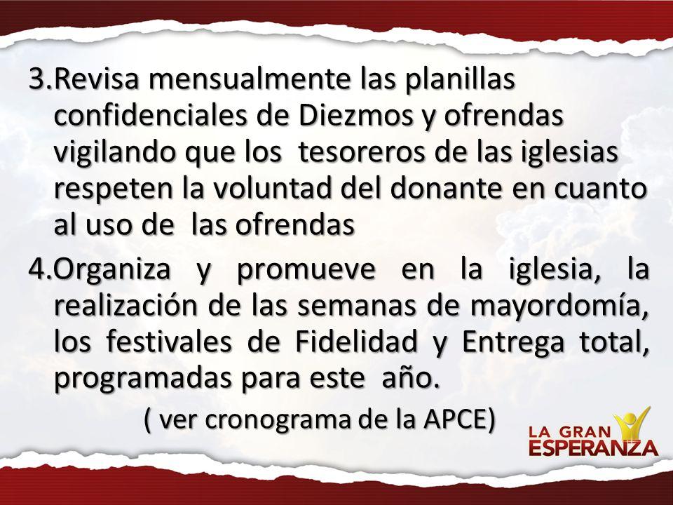 3.Revisa mensualmente las planillas confidenciales de Diezmos y ofrendas vigilando que los tesoreros de las iglesias respeten la voluntad del donante