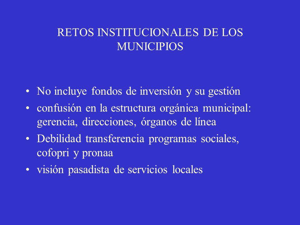 RETOS INSTITUCIONALES DE LOS MUNICIPIOS No incluye fondos de inversión y su gestión confusión en la estructura orgánica municipal: gerencia, direcciones, órganos de línea Debilidad transferencia programas sociales, cofopri y pronaa visión pasadista de servicios locales