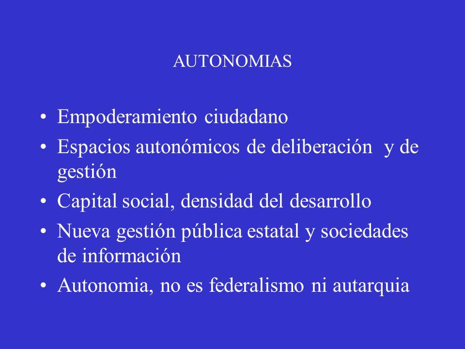 AUTONOMIAS Empoderamiento ciudadano Espacios autonómicos de deliberación y de gestión Capital social, densidad del desarrollo Nueva gestión pública estatal y sociedades de información Autonomia, no es federalismo ni autarquia