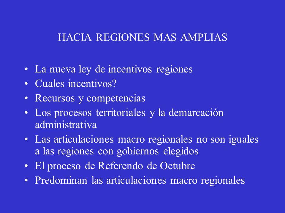 HACIA REGIONES MAS AMPLIAS La nueva ley de incentivos regiones Cuales incentivos.