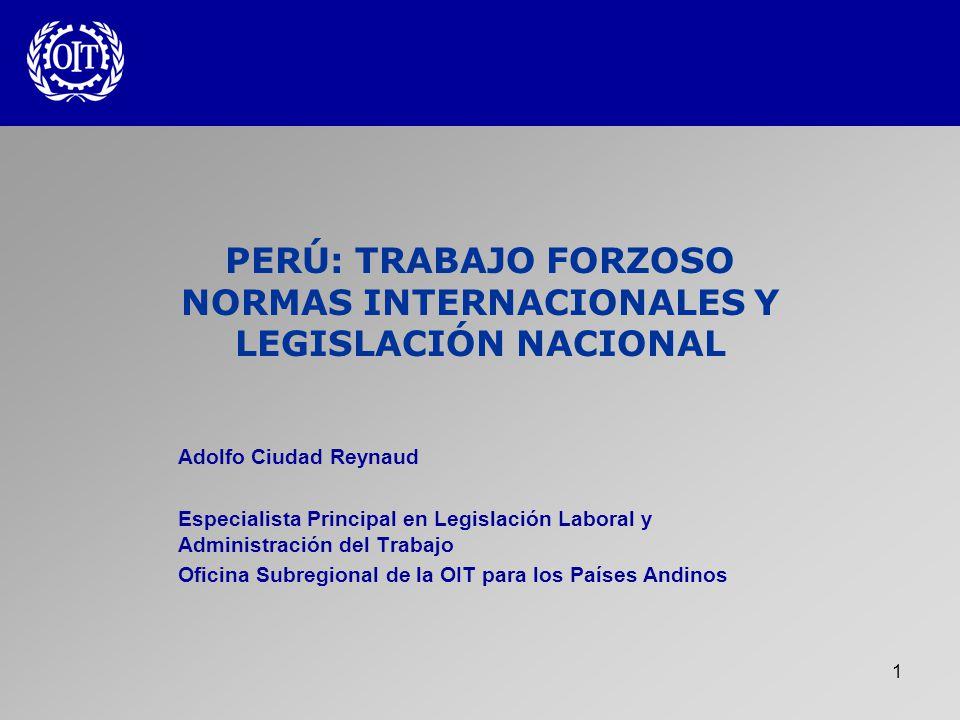 2 Libertad de trabajo Trabajo debe ser libremente elegido Dos Convenios fundamentales: Convenio 29 (1930) Convenio 105 (1957) La Declaración de la OIT relativa a Principios y Derechos Fundamentales en el Trabajo (1998)