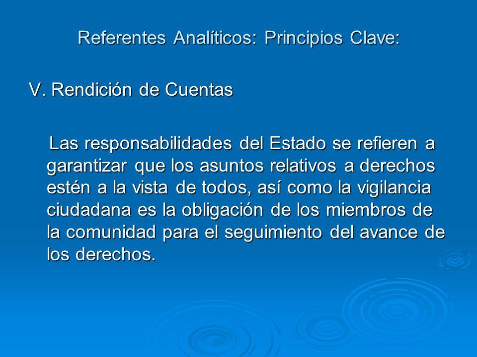 Referentes Analíticos: Principios Clave: V.