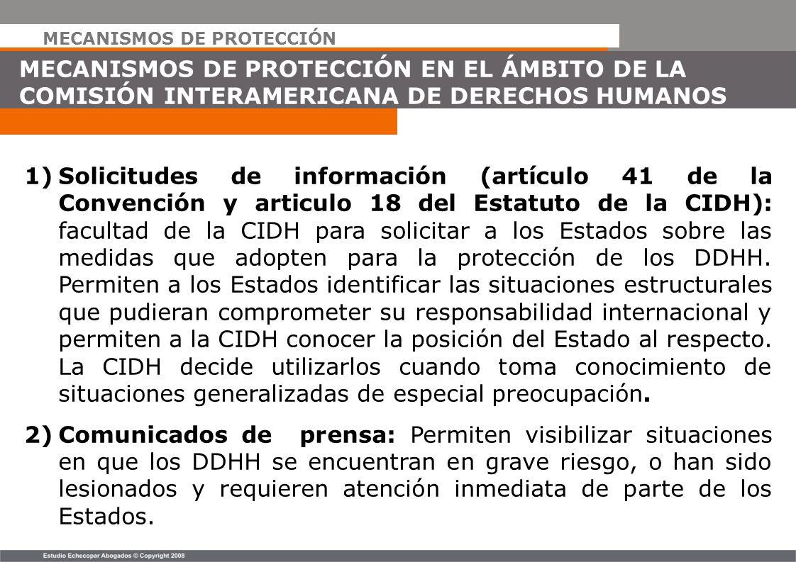 MECANISMOS DE PROTECCIÓN MECANISMOS DE PROTECCIÓN EN EL ÁMBITO DE LA COMISIÓN INTERAMERICANA DE DERECHOS HUMANOS 1)Solicitudes de información (artícul