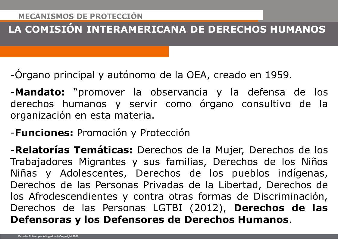 MECANISMOS DE PROTECCIÓN LA COMISIÓN INTERAMERICANA DE DERECHOS HUMANOS -Órgano principal y autónomo de la OEA, creado en 1959. -Mandato: promover la