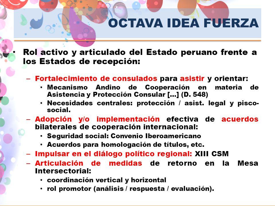 OCTAVA IDEA FUERZA Rol activo y articulado del Estado peruano frente a los Estados de recepción: – Fortalecimiento de consulados para asistir y orient