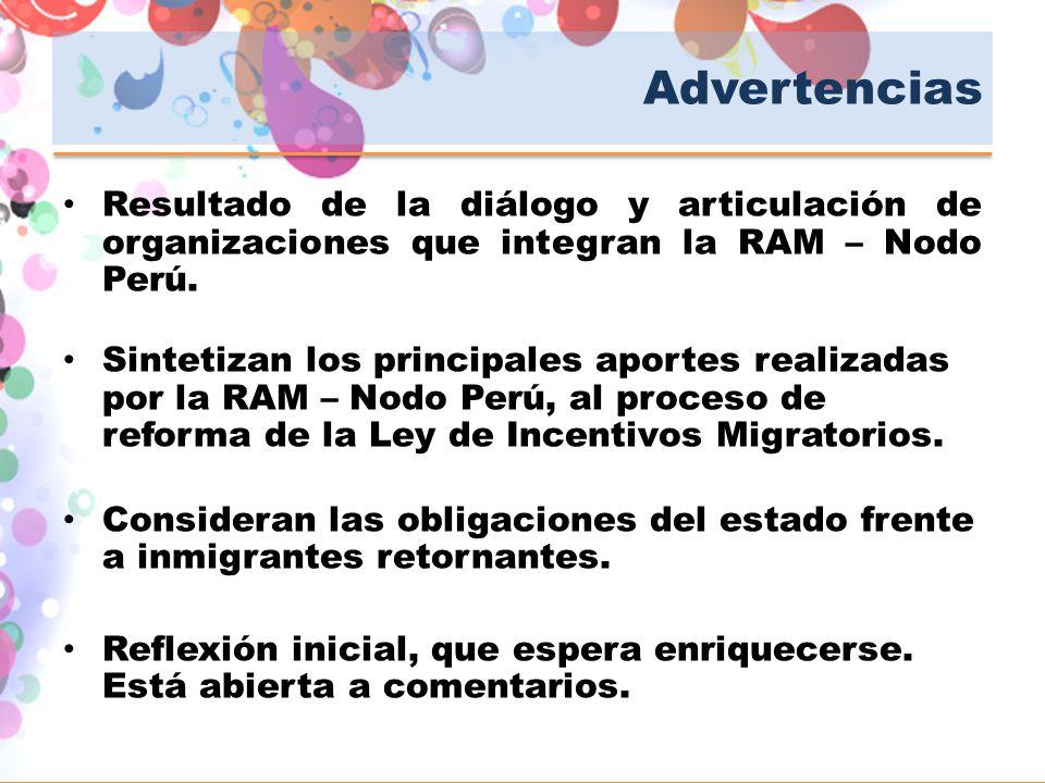 Advertencias Resultado de la diálogo y articulación de organizaciones que integran la RAM – Nodo Perú. Sintetizan los principales aportes realizadas p