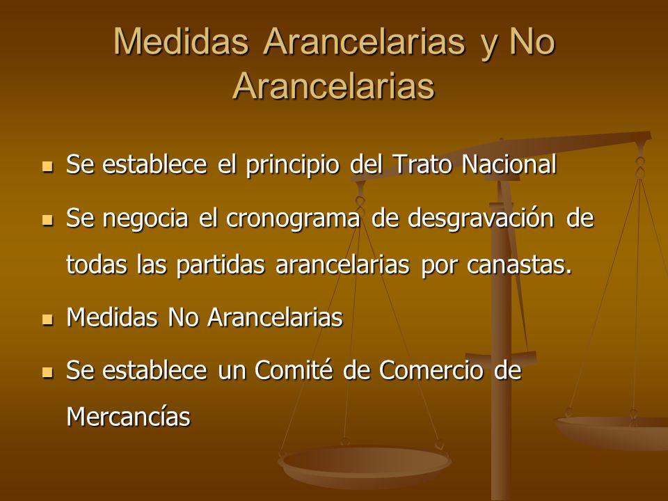 Medidas Arancelarias y No Arancelarias Se establece el principio del Trato Nacional Se establece el principio del Trato Nacional Se negocia el cronogr