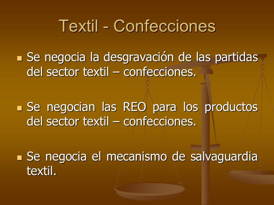 Textil - Confecciones Se negocia la desgravación de las partidas del sector textil – confecciones. Se negocia la desgravación de las partidas del sect