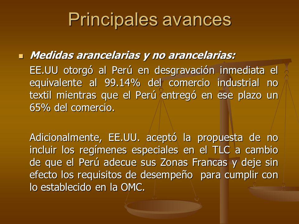 Principales avances Medidas arancelarias y no arancelarias: Medidas arancelarias y no arancelarias: EE.UU otorgó al Perú en desgravación inmediata el