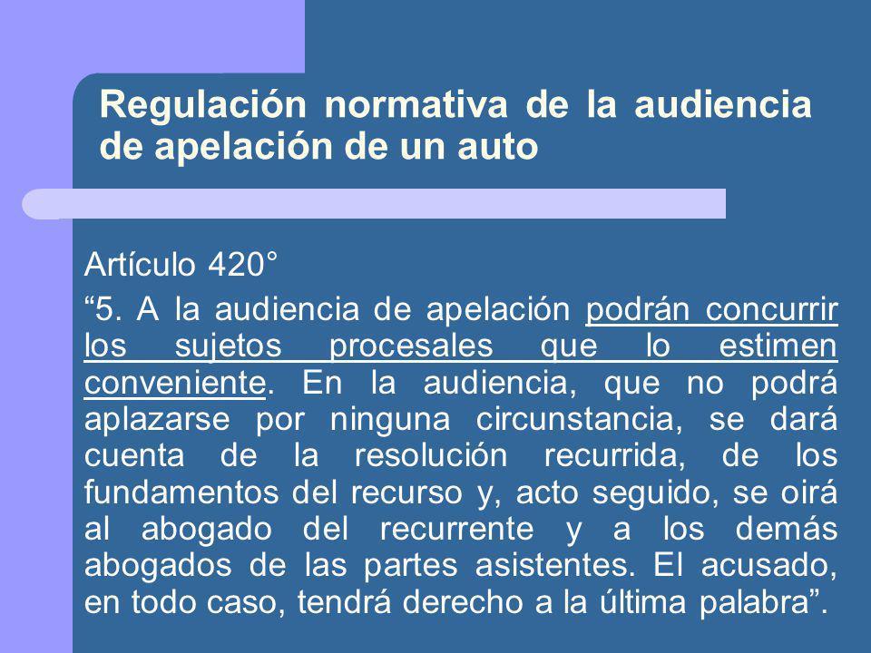 Regulación normativa de la audiencia de apelación de un auto Artículo 420° 5.