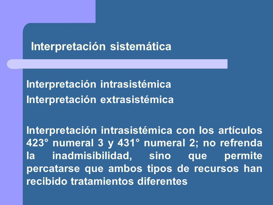 Interpretación sistemática Interpretación intrasistémica Interpretación extrasistémica Interpretación intrasistémica con los artículos 423° numeral 3 y 431° numeral 2; no refrenda la inadmisibilidad, sino que permite percatarse que ambos tipos de recursos han recibido tratamientos diferentes