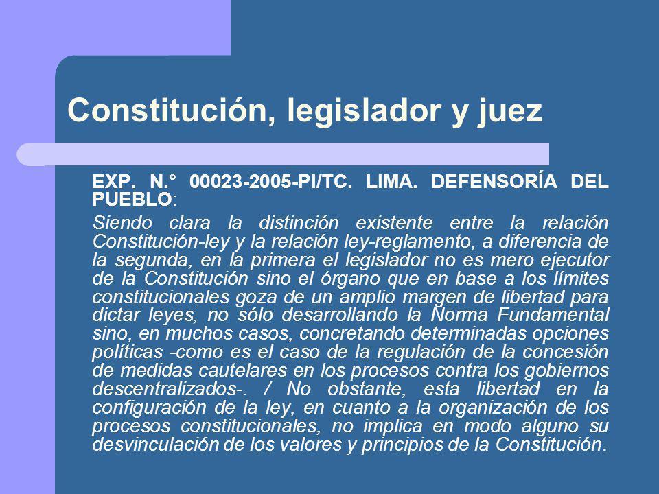 Constitución, legislador y juez EXP.N.° 00023-2005-PI/TC.