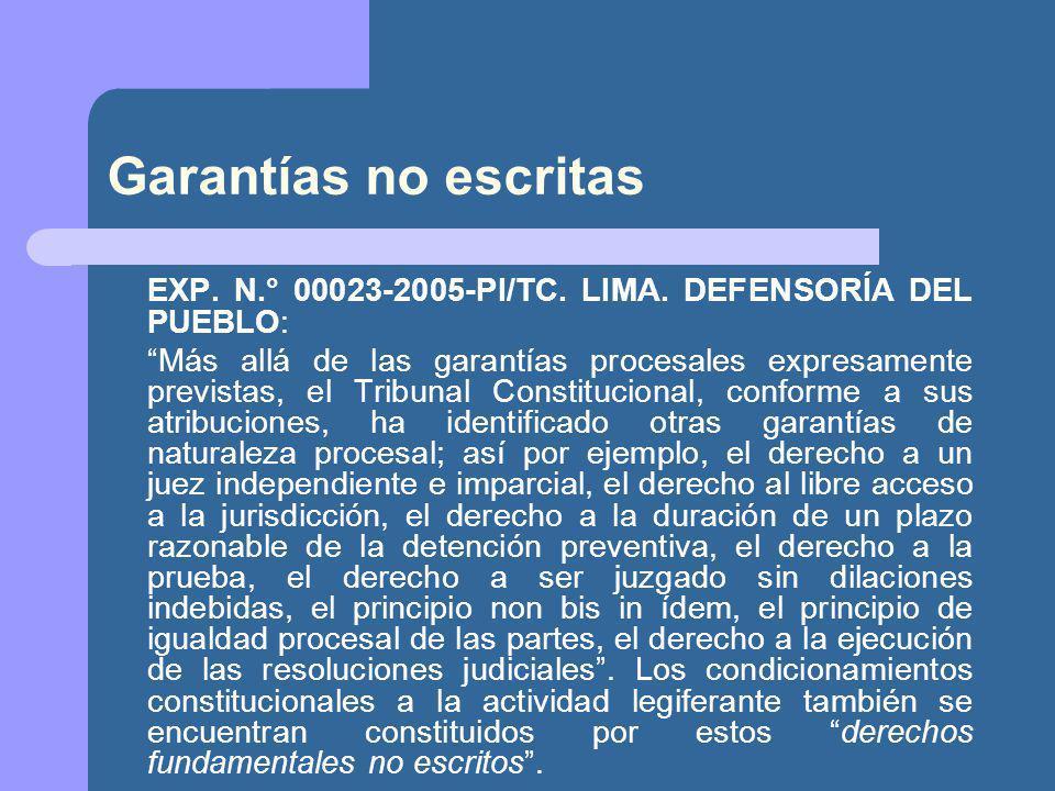 Garantías no escritas EXP.N.° 00023-2005-PI/TC. LIMA.