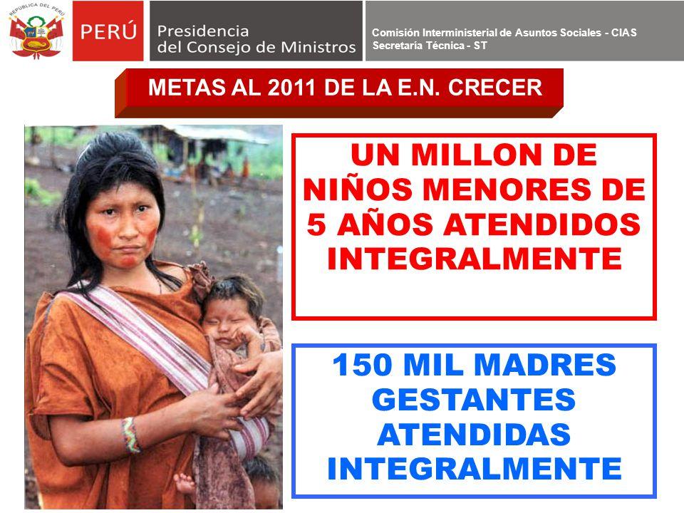 Comisión Interministerial de Asuntos Sociales - CIAS Secretaría Técnica - ST UN MILLON DE NIÑOS MENORES DE 5 AÑOS ATENDIDOS INTEGRALMENTE 150 MIL MADR