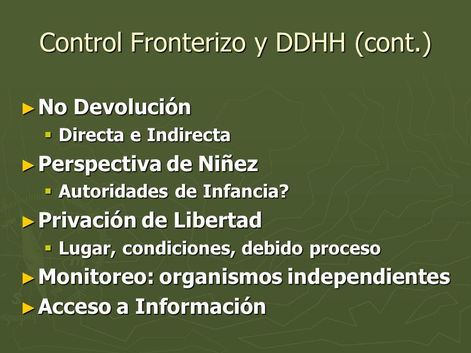 Control Fronterizo y DDHH (cont.) No Devolución No Devolución Directa e Indirecta Directa e Indirecta Perspectiva de Niñez Perspectiva de Niñez Autori