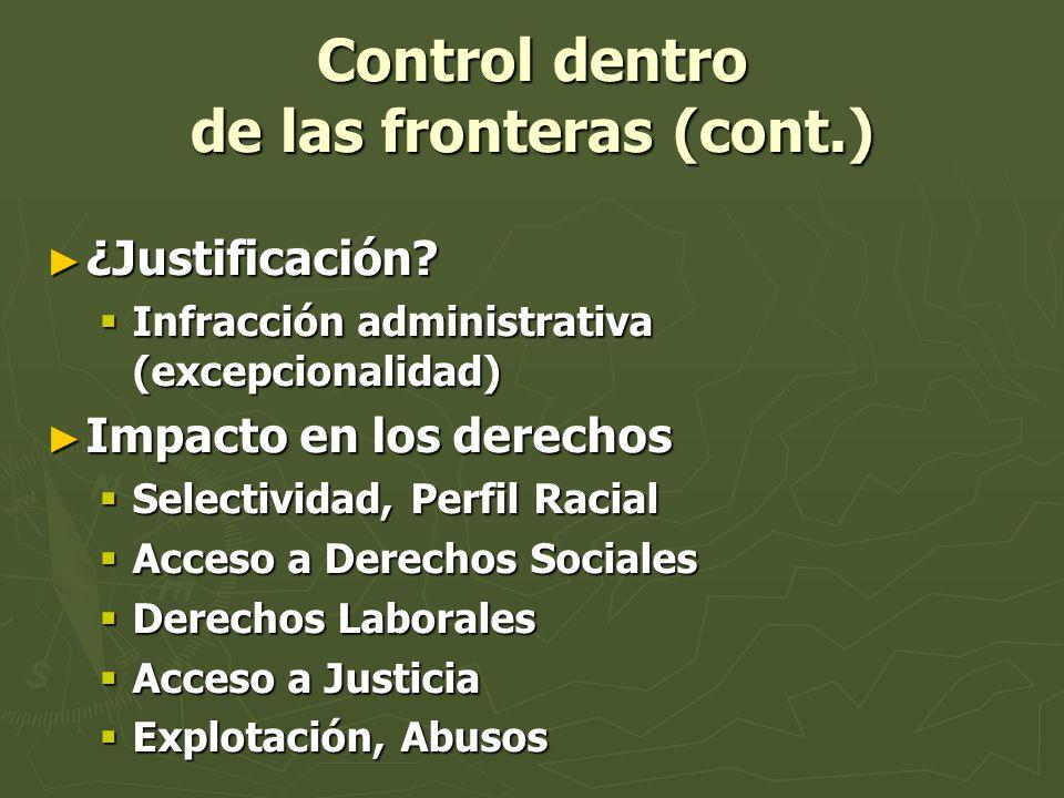 Control dentro de las fronteras (cont.) ¿Justificación? ¿Justificación? Infracción administrativa (excepcionalidad) Infracción administrativa (excepci