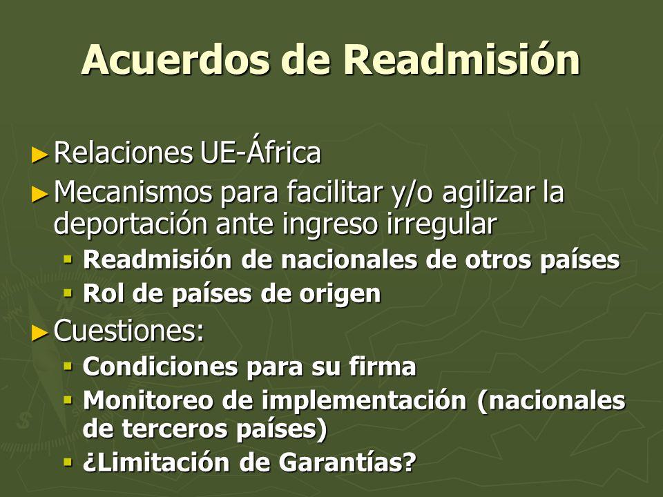 Acuerdos de Readmisión Relaciones UE-África Relaciones UE-África Mecanismos para facilitar y/o agilizar la deportación ante ingreso irregular Mecanism