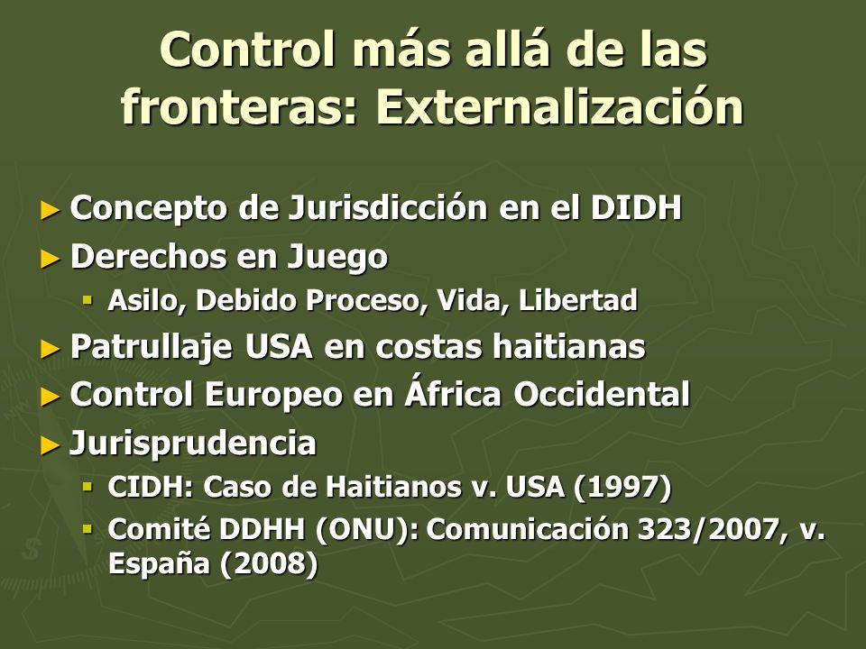 Control más allá de las fronteras: Externalización Concepto de Jurisdicción en el DIDH Concepto de Jurisdicción en el DIDH Derechos en Juego Derechos