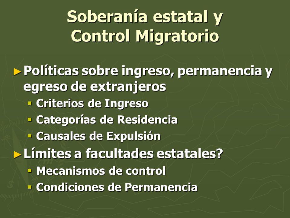 Soberanía estatal y Control Migratorio Políticas sobre ingreso, permanencia y egreso de extranjeros Políticas sobre ingreso, permanencia y egreso de e