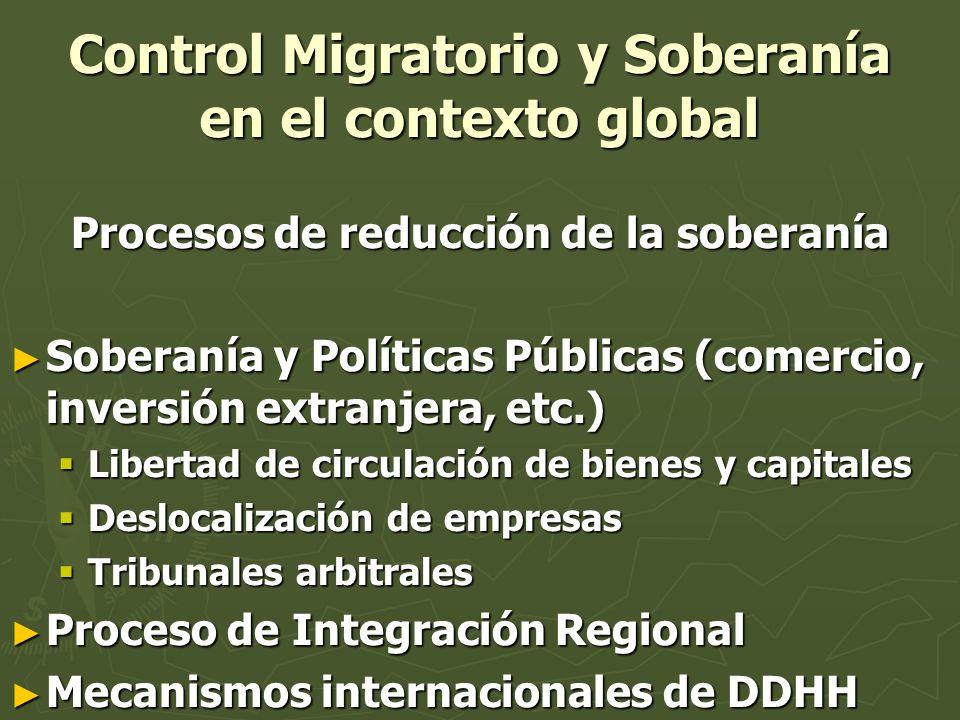 Soberanía y control migratorio en el contexto global (cont.) Modelo global: Modelo global: Reducción de la soberaníaReducción de la soberanía Profundización de las causas de la migraciónProfundización de las causas de la migración Sin embargo: Mayor control migratorio.