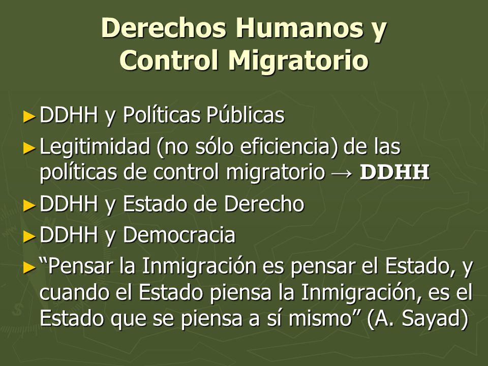 Derechos Humanos y Control Migratorio DDHH y Políticas Públicas DDHH y Políticas Públicas Legitimidad (no sólo eficiencia) de las políticas de control