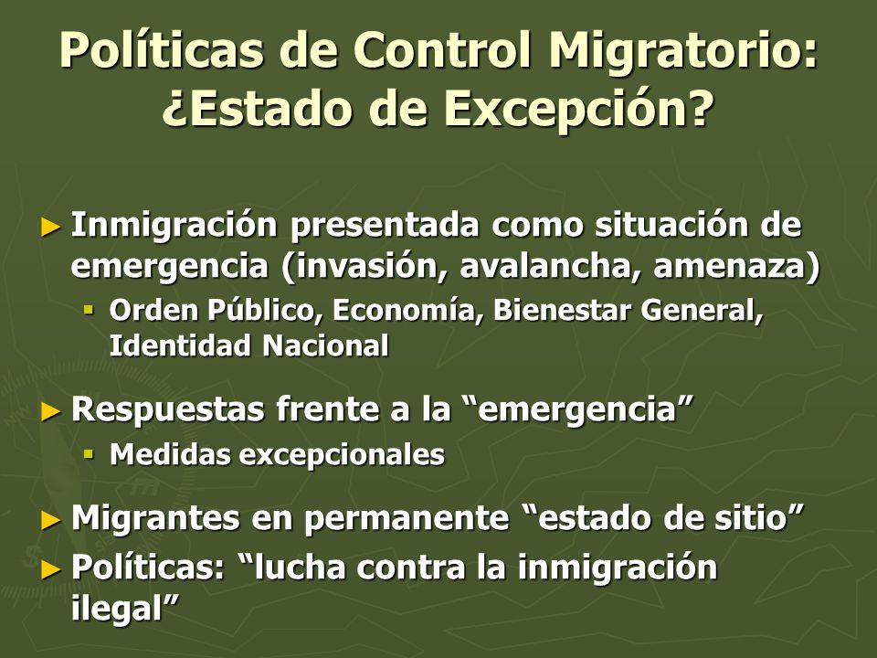 Políticas de Control Migratorio: ¿Estado de Excepción? Inmigración presentada como situación de emergencia (invasión, avalancha, amenaza) Inmigración