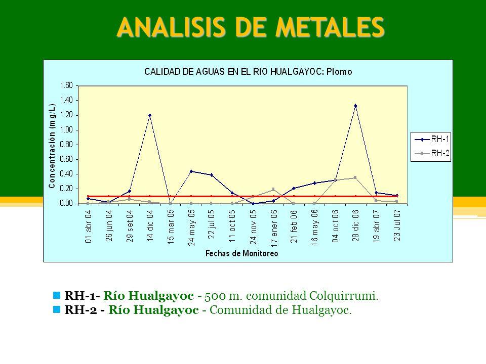 ANALISIS DE METALES RH-1- Río Hualgayoc - 500 m. comunidad Colquirrumi. RH-2 - Río Hualgayoc - Comunidad de Hualgayoc.