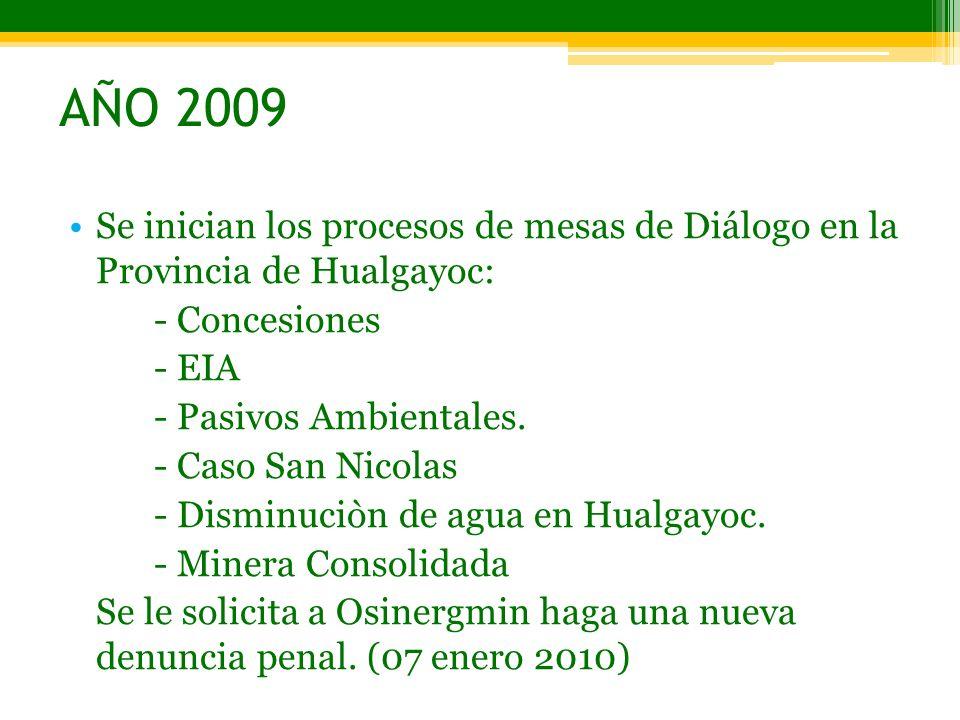 AÑO 2009 Se inician los procesos de mesas de Diálogo en la Provincia de Hualgayoc: - Concesiones - EIA - Pasivos Ambientales. - Caso San Nicolas - Dis