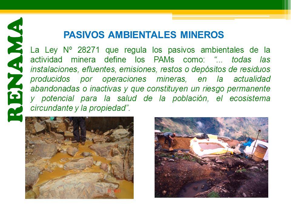 RENAMA PASIVOS AMBIENTALES MINEROS La Ley Nº 28271 que regula los pasivos ambientales de la actividad minera define los PAMs como:... todas las instal