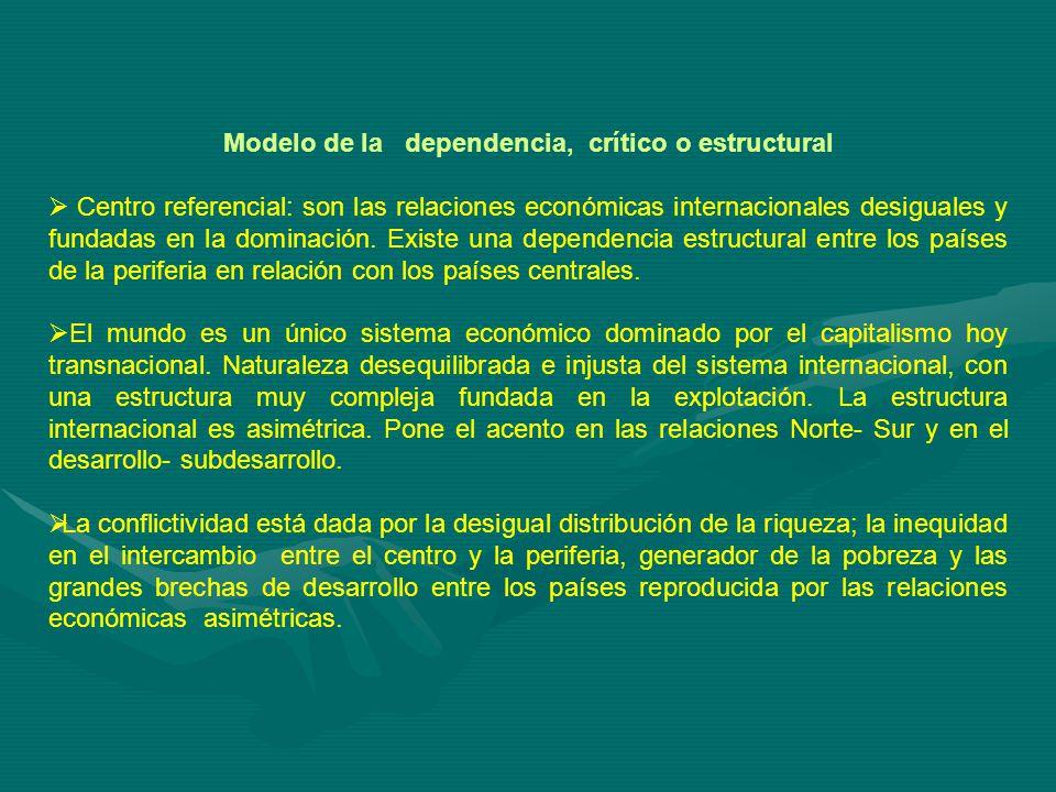 Modelo de la dependencia, crítico o estructural Centro referencial: son las relaciones económicas internacionales desiguales y fundadas en la dominación.
