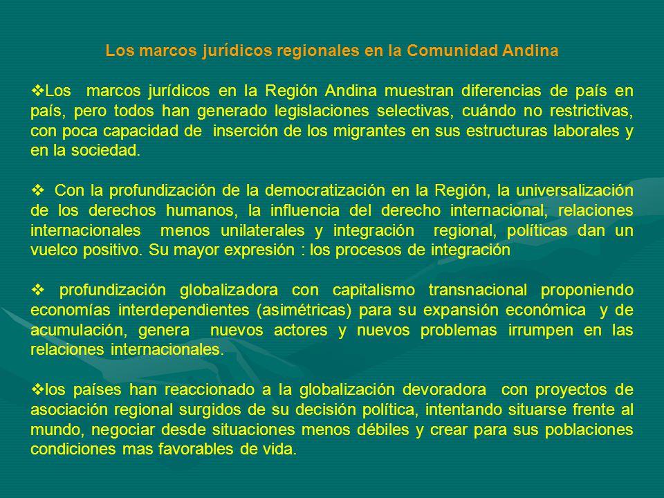Los marcos jurídicos regionales en la Comunidad Andina Los marcos jurídicos en la Región Andina muestran diferencias de país en país, pero todos han generado legislaciones selectivas, cuándo no restrictivas, con poca capacidad de inserción de los migrantes en sus estructuras laborales y en la sociedad.