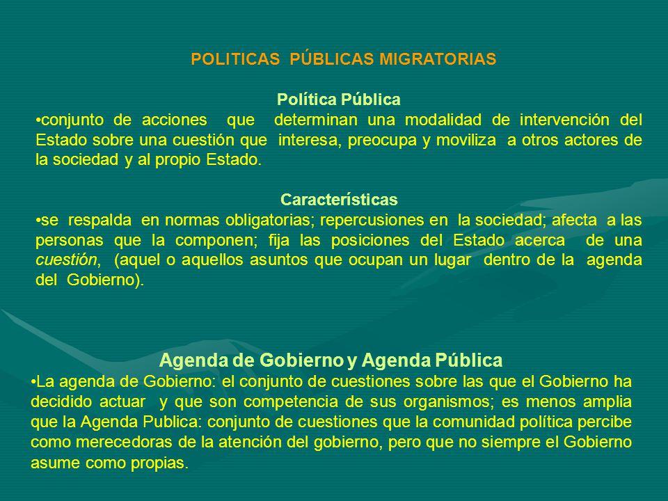 POLITICAS PÚBLICAS MIGRATORIAS Política Pública conjunto de acciones que determinan una modalidad de intervención del Estado sobre una cuestión que interesa, preocupa y moviliza a otros actores de la sociedad y al propio Estado.