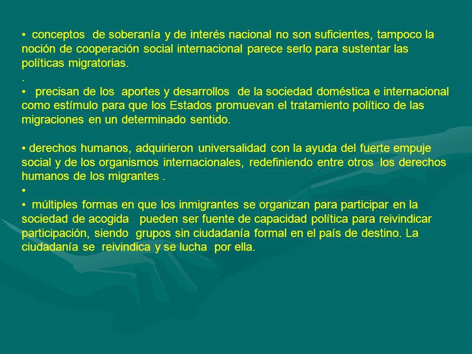 conceptos de soberanía y de interés nacional no son suficientes, tampoco la noción de cooperación social internacional parece serlo para sustentar las políticas migratorias..