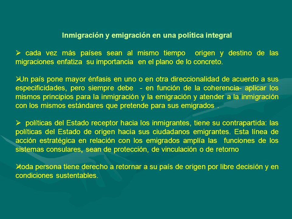 Inmigración y emigración en una política integral cada vez más países sean al mismo tiempo origen y destino de las migraciones enfatiza su importancia en el plano de lo concreto.