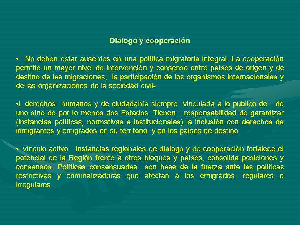 Dialogo y cooperación No deben estar ausentes en una política migratoria integral.