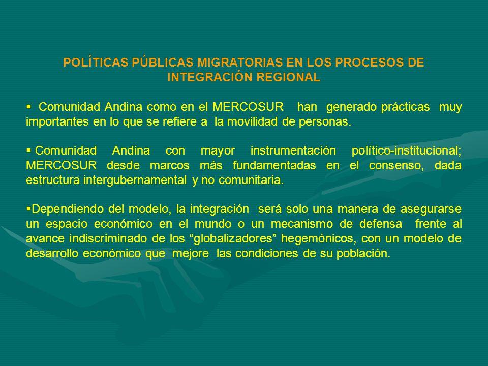 POLÍTICAS PÚBLICAS MIGRATORIAS EN LOS PROCESOS DE INTEGRACIÓN REGIONAL Comunidad Andina como en el MERCOSUR han generado prácticas muy importantes en lo que se refiere a la movilidad de personas.