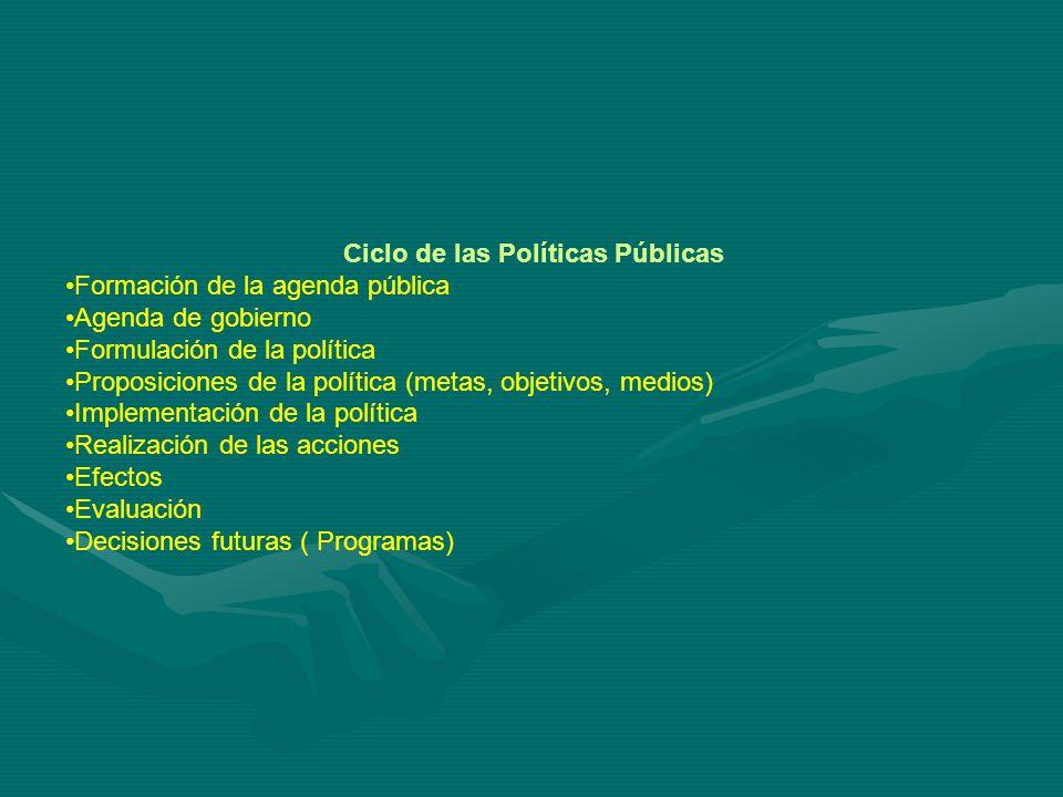Ciclo de las Políticas Públicas Formación de la agenda pública Agenda de gobierno Formulación de la política Proposiciones de la política (metas, objetivos, medios) Implementación de la política Realización de las acciones Efectos Evaluación Decisiones futuras ( Programas)