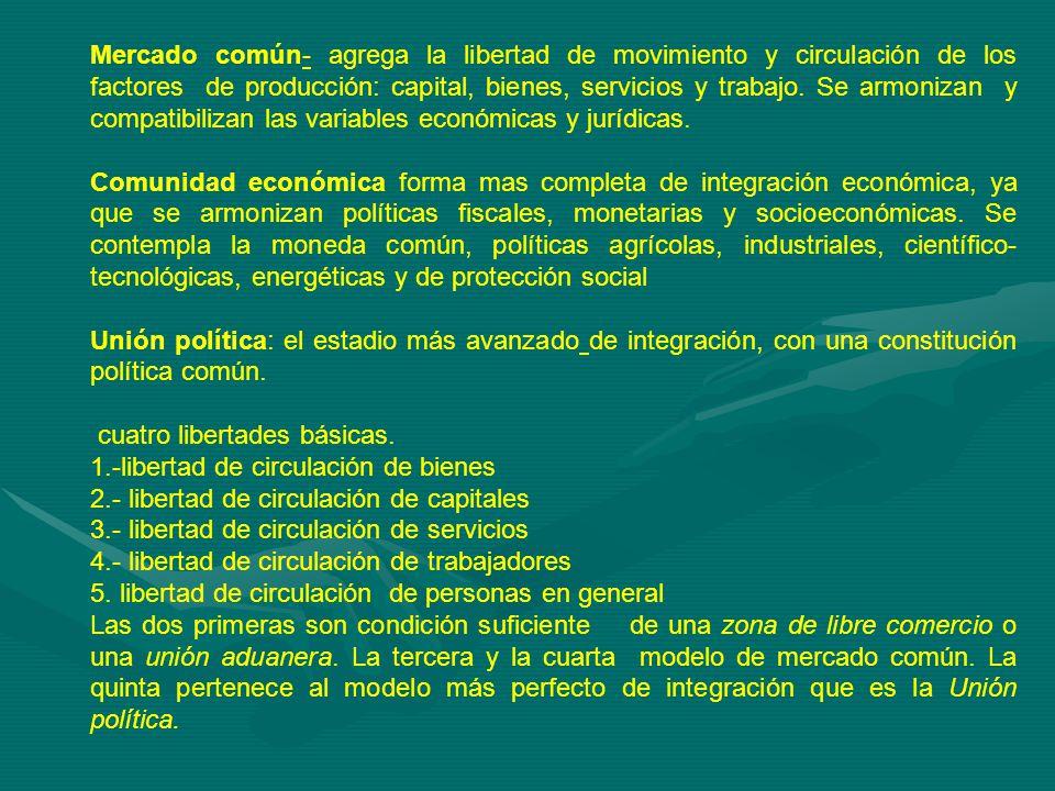 Mercado común- agrega la libertad de movimiento y circulación de los factores de producción: capital, bienes, servicios y trabajo.