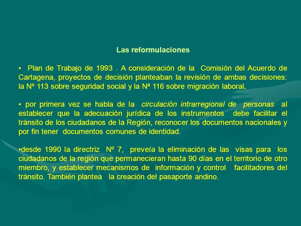 Las reformulaciones Plan de Trabajo de 1993.