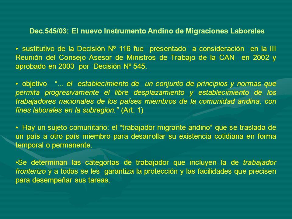 Dec.545/03: El nuevo Instrumento Andino de Migraciones Laborales sustitutivo de la Decisión Nº 116 fue presentado a consideración en la III Reunión del Consejo Asesor de Ministros de Trabajo de la CAN en 2002 y aprobado en 2003 por Decisión Nº 545.