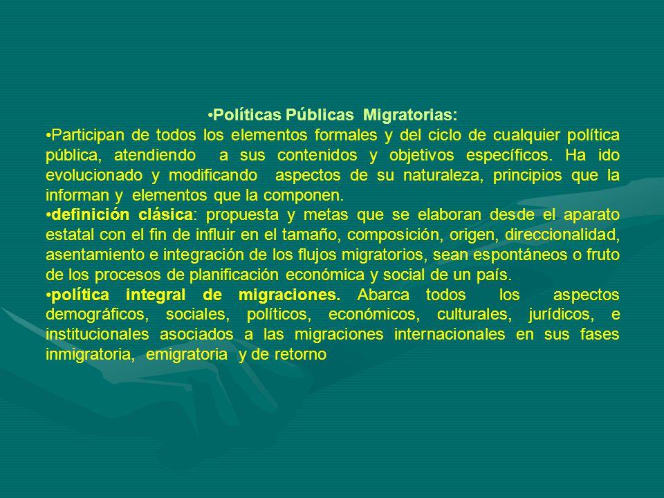 Políticas Públicas Migratorias: Participan de todos los elementos formales y del ciclo de cualquier política pública, atendiendo a sus contenidos y objetivos específicos.