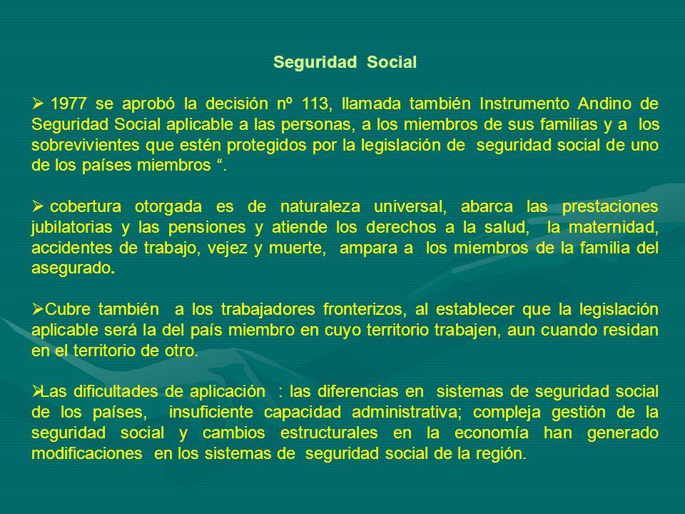 Seguridad Social 1977 se aprobó la decisión nº 113, llamada también Instrumento Andino de Seguridad Social aplicable a las personas, a los miembros de sus familias y a los sobrevivientes que estén protegidos por la legislación de seguridad social de uno de los países miembros.